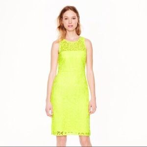 J. Crew Collection Yellow Lace Pencil Dress
